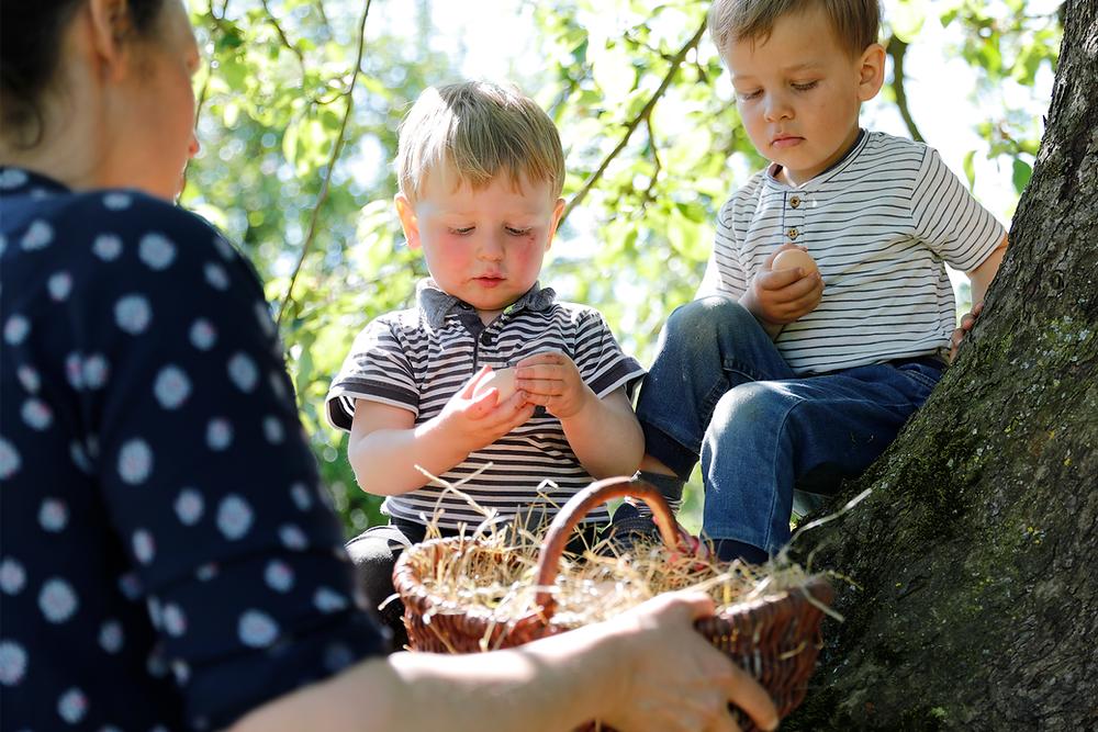 Eierkorb und Kinder auf einem Baum