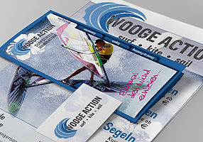 Flyer Plakate Visitenkarte Surfschule Wangerooge