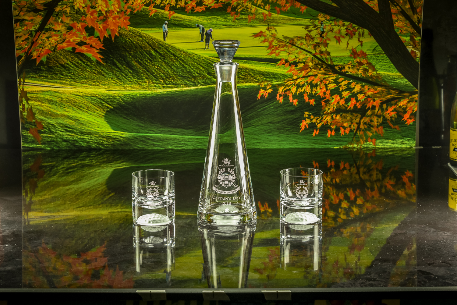 Majestic Crystal 2019 Brochure photos Golf Ball Bottom Decanter with Pair of Golf Ball Bottom Tumble
