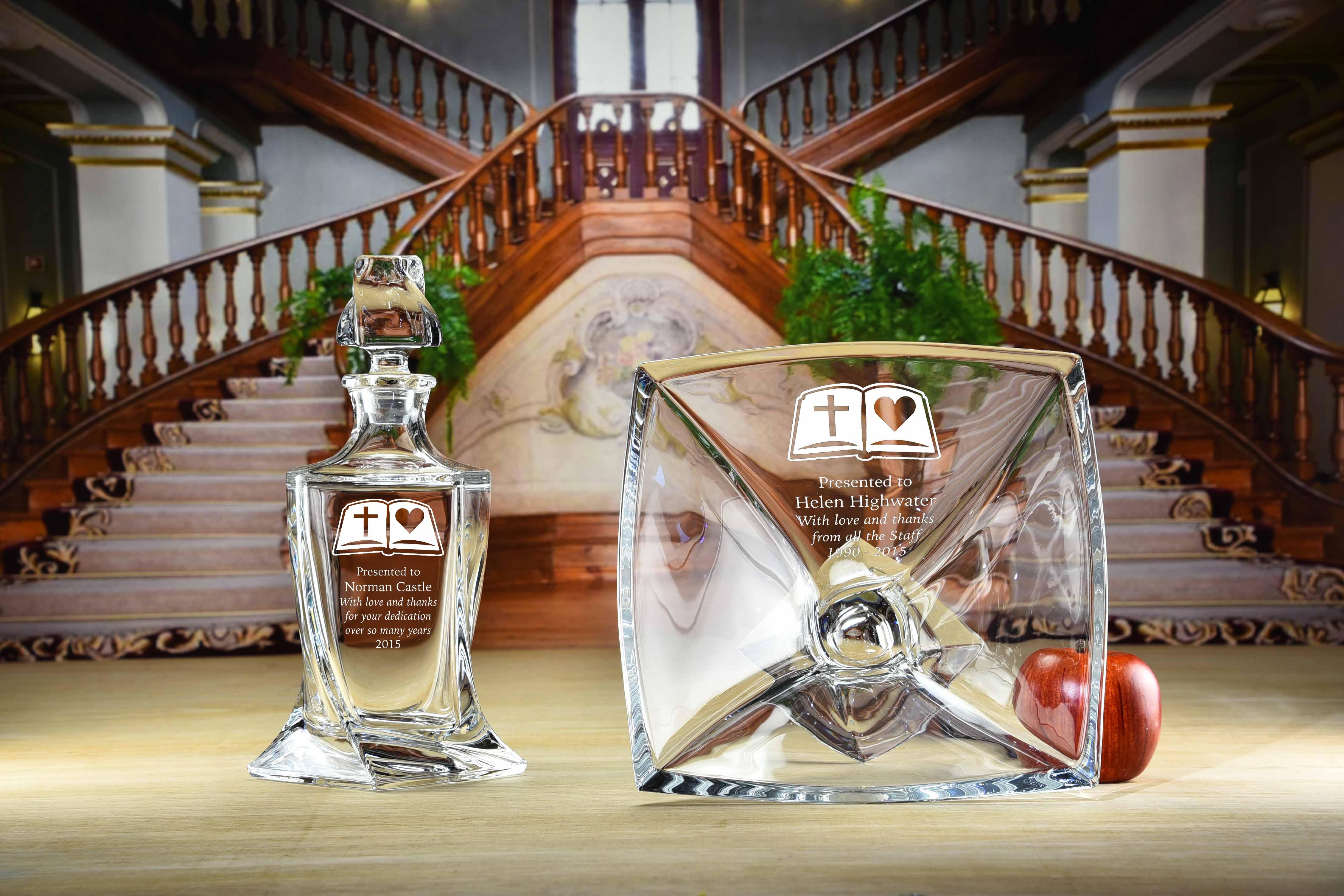 Engraved crystal barley decanter and barley bowl.jpg