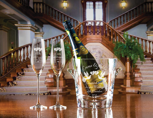 Champagne Bucket & Lydia Flutes Stairs LHS