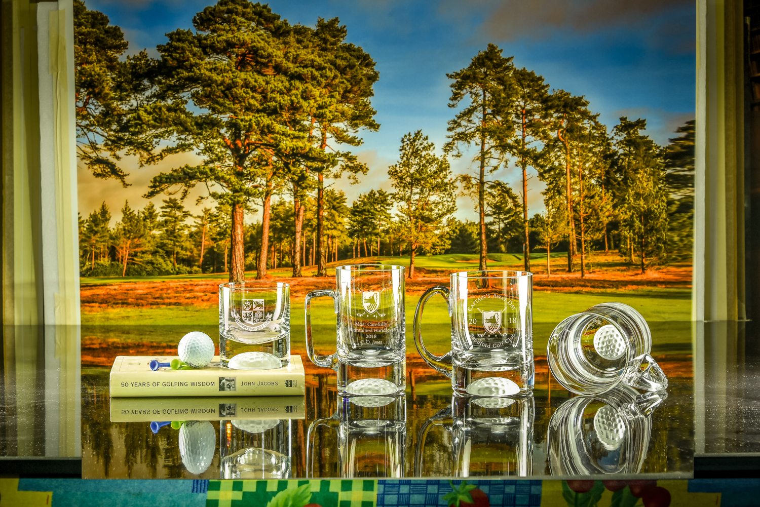 Majestic Crystal 2019 Brochure photos Golf Ball Bottom Tumbler, Golf Ball Bottom Small Tankard, Golf