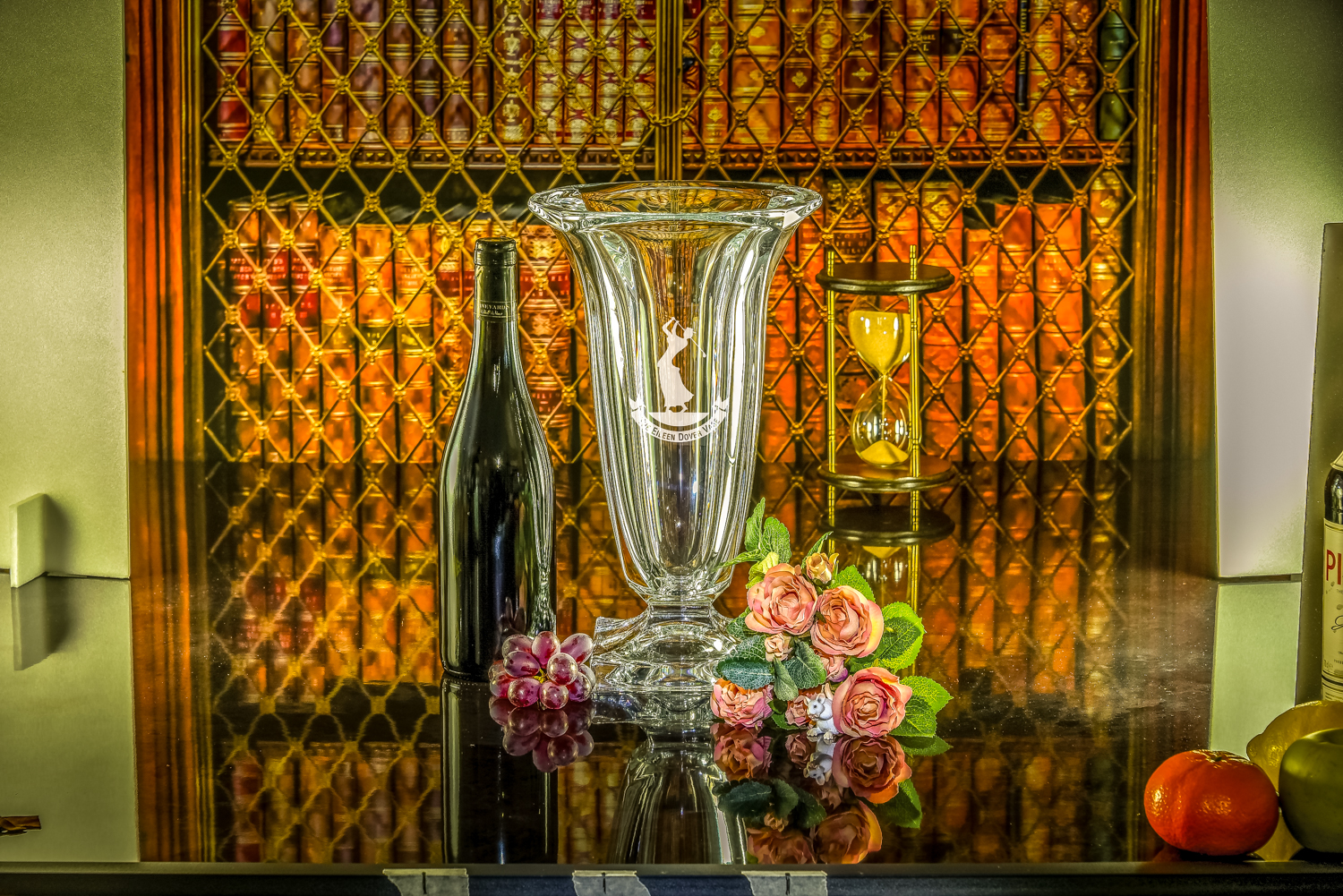 Majestic Crystal 2019 Brochure photos - Etna Vase with bottle and flowers