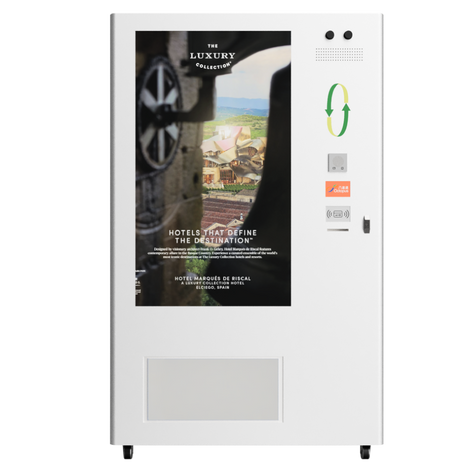 CEPO Vending Machine with Full Screen Content about Hotel