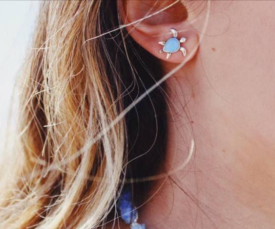 TURTLE EARRINGS || silver plated