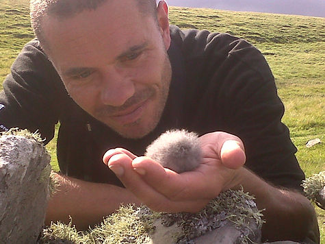 Me and a Storm Petrel - Mousa, Shetland