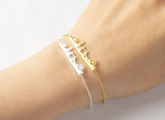 London City Scape Bracelet Jewellery Stainless Steel Gold Color - Unique Gift