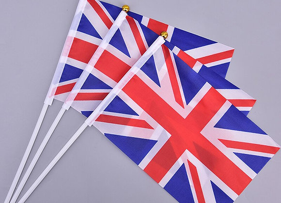 10pcs  British Flag UK Flag United Kingdom  With Plastic Flagpoles Hand Waving