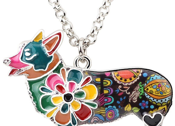 Bonsny Welsh Corgi Pembroke Dog Enamel Necklace Pendant  - Perfect Gift !