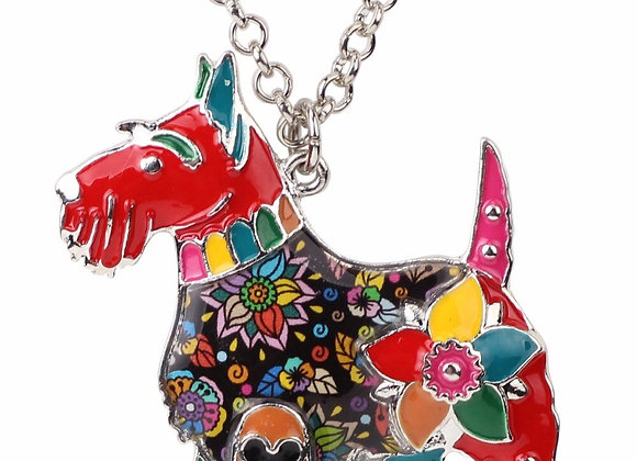 Bonsny Metal Alloy Enamel Scottish Dog Necklace Chain Pendant Jewelry for Women