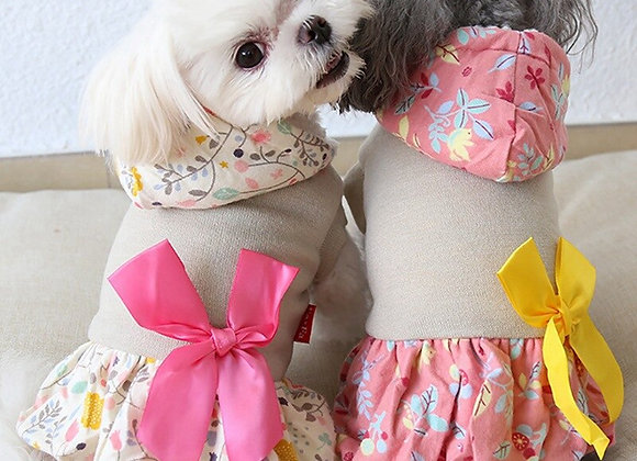 British Floral Winter Dog Dress Coat with Skirt - Floral Print with Bow