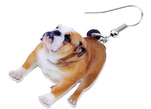 British Bulldog Dog Earrings - Long Dangle Fashion Jewellery
