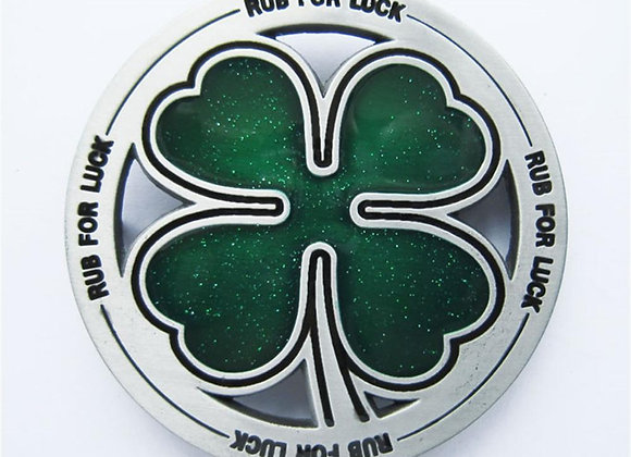 Funny Irish Lucky Four Leaf Clover Belt Buckle - RUB FOR LUCK
