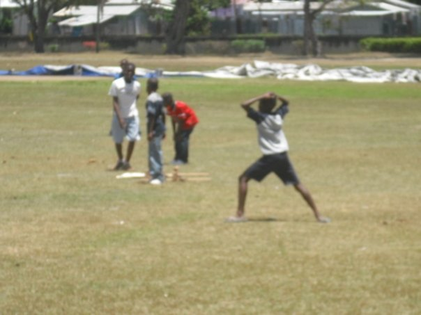 Campers playing cricket