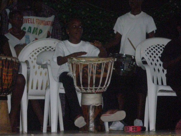 Campers playing the drums