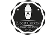 """Dies ist ein Siegel vom Monin Cup 2016, bei welchem der Barkeeper Julian Mayrhofer einen Bärnstein-Cocktail zubereitete und so den Preis """"2. bester Cocktail der Welt"""" zugesprochen bekam."""