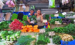 ירקות טריים בשוק הכרמל