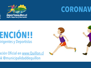 Invitación a deportistas de Quillón, frente al Corona Virus, Covid-19