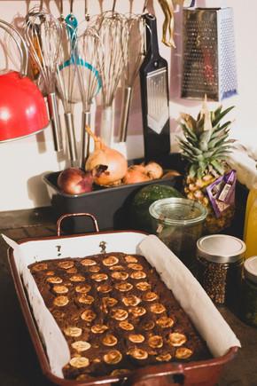 Veganer Bananen-Schokolade-Mohn Kuchen