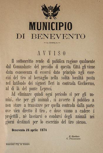 delibera istituzione tiro a segno Benevento