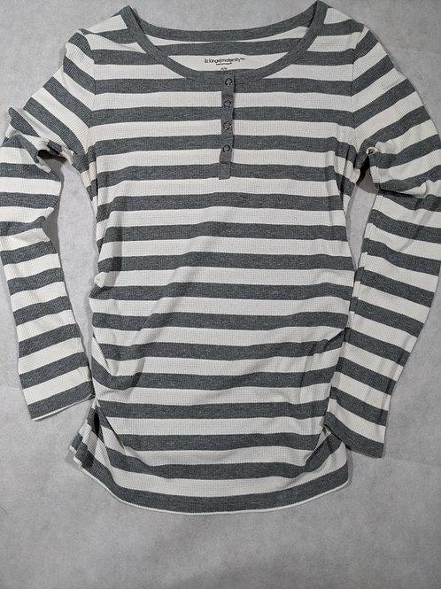Liz Lange, Striped Waffle Henley, White/Grey, M