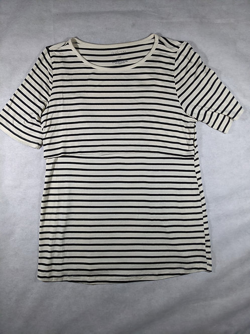 A Glow, short sleeve Striped scoop neck, L