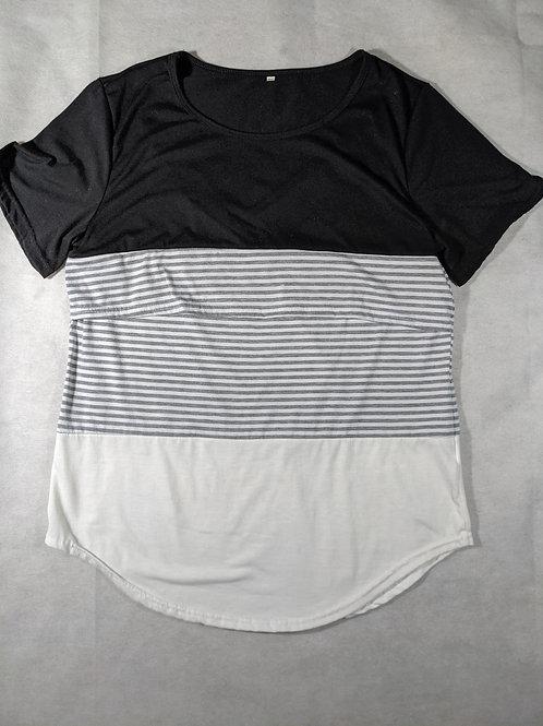Scoop Neck Color Block Tshirt, XL