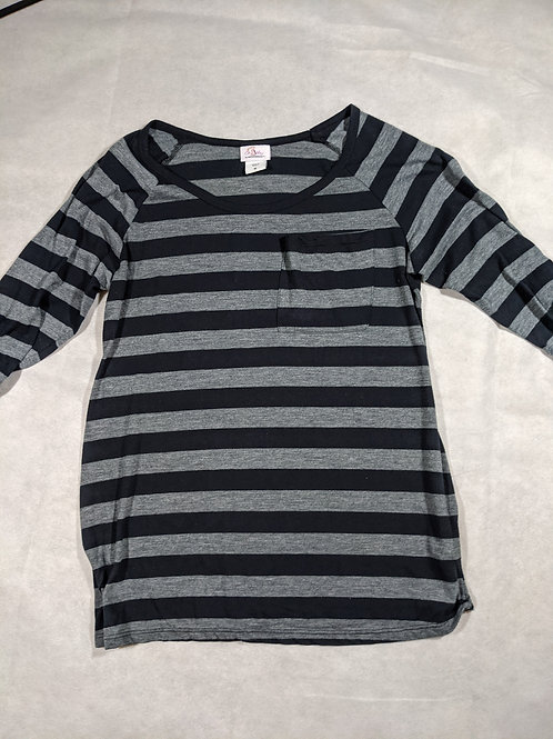 Oh Baby by Motherhood, Striped Long Sleeve Scoop Neck Pocket Tee, M