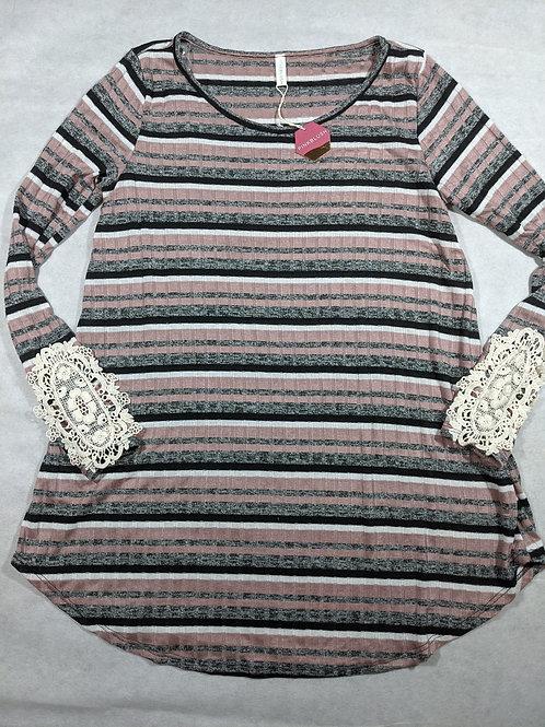 Pink Blush, Striped Lace Sleeve Tunic NWT, M