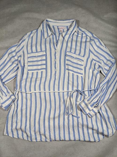 Isabel, Striped Button Down Tie Waist, XXL