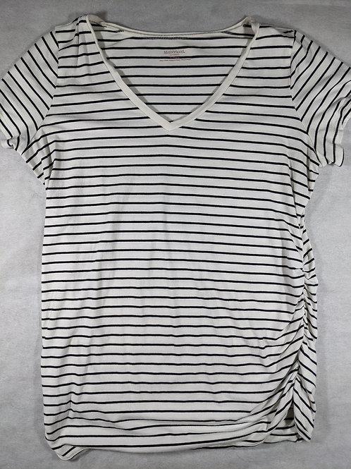 Motherhood, Striped V-neck Short Sleeve, XL