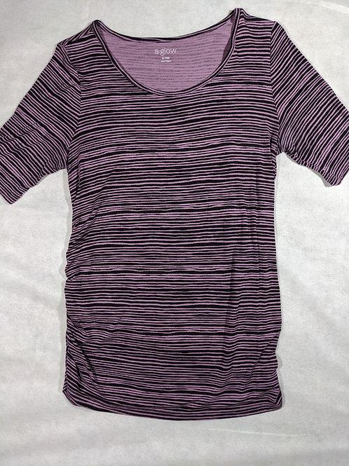 A Glow, 3/4 Sleeve Sleeve Striped Scoopneck, XL