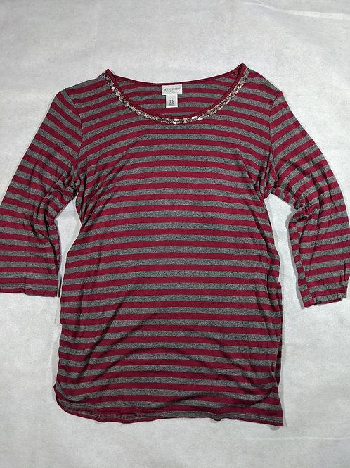 Motherhood, Striped Beaded Scoop Neck 3/4 Sleeve, S