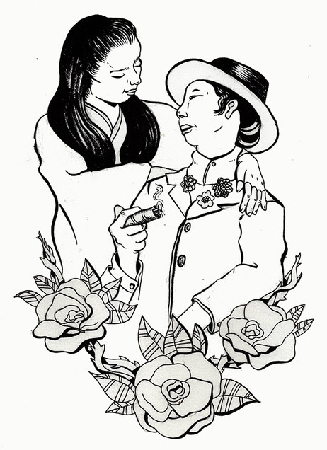 Japanese Couple - Butch Lesbians of the 20's, 30's, and 40's Coloring Book