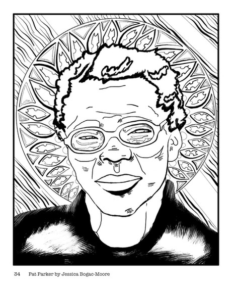 Portrait of Pat Parker - Page in the Butch Lesbians of the 50's, 60's, and 70's Coloring Book.