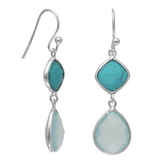 Turquoise and Sea Green Chalcedony Drop Earrings
