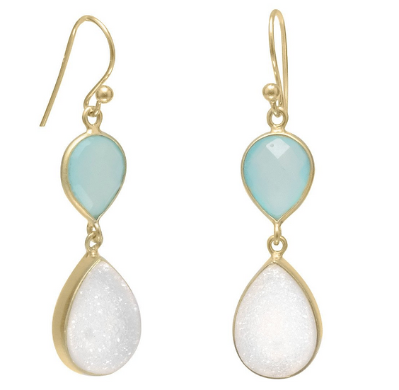 Gold Earrings with Green Chalcedony and Druzy
