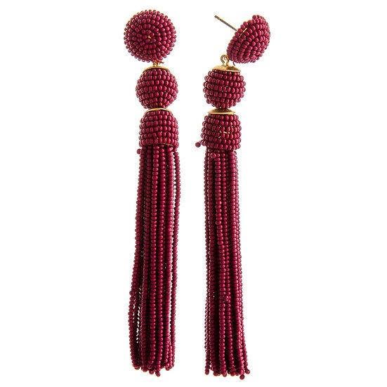 Lou Seed Bead Tassel Earrings