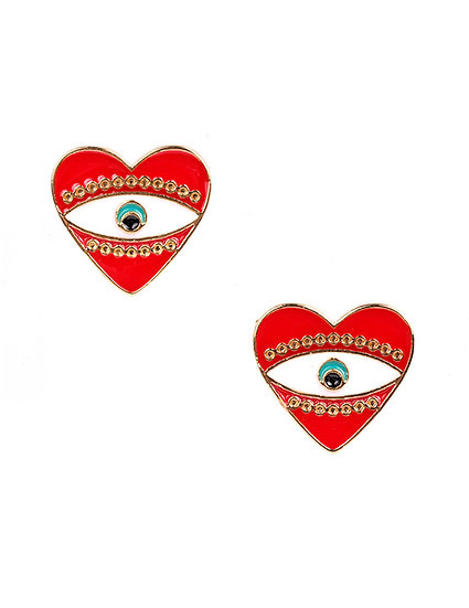 Heart Eye Enamel Earrings