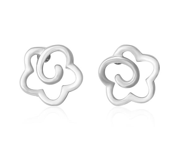 Open Flower Silver Stud Earrings