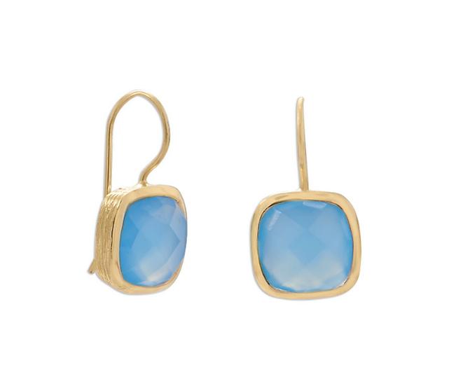 Gold Blue Chalcedony Wire Earrings