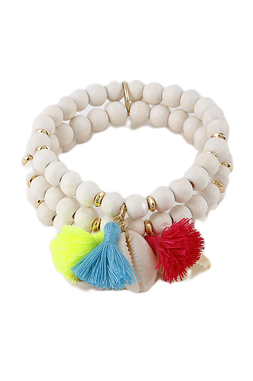 Wooden Beaded Tassel & Shell Bracelet Set