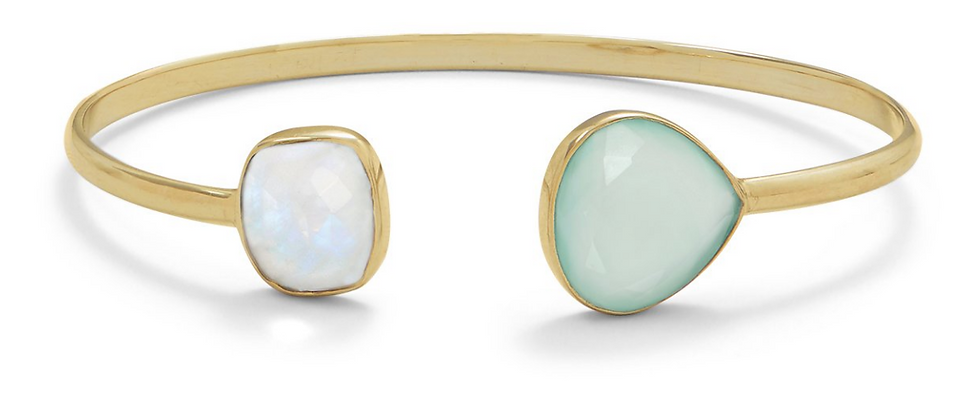 Gold Rainbow Moonstone and Green Chalcedony Split Bangle