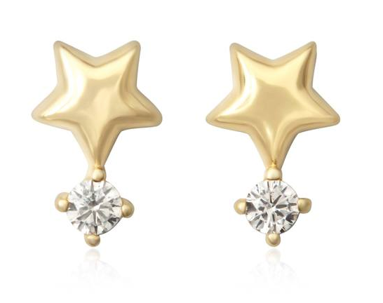Gold Puffy Star Earrings with CZ Studs