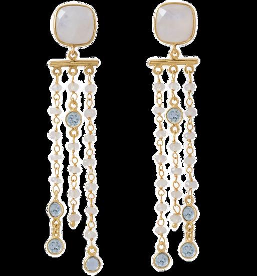 Gold Rainbow Moonstone Post Earrings