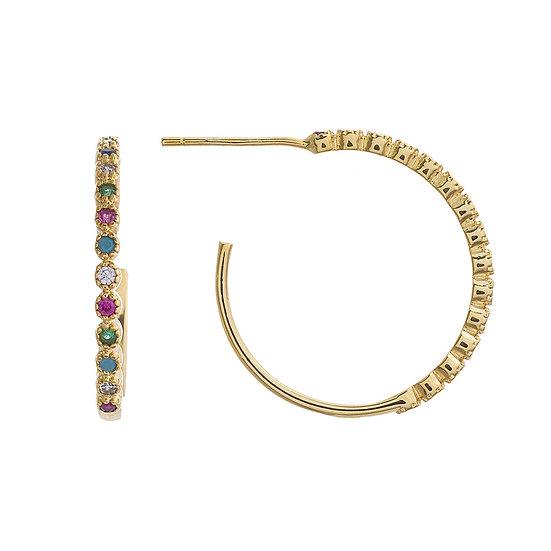 Gold Multicolor Hoop Earrings