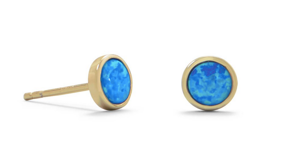 Gold Synthetic Blue Opal Studs