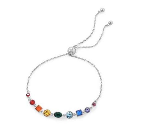 Silver Crystal Rainbow Bolo Bracelet