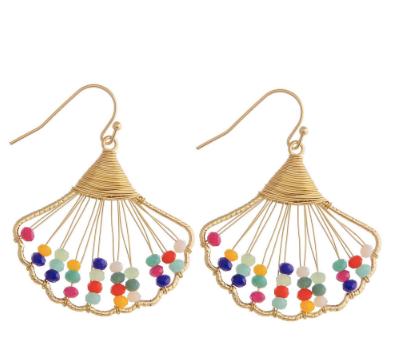 Gold Wired Seashell Earrings