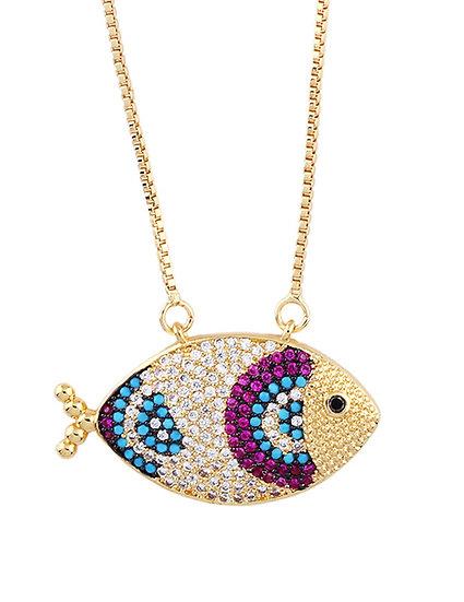 Go Fish Purple Pendant Necklace